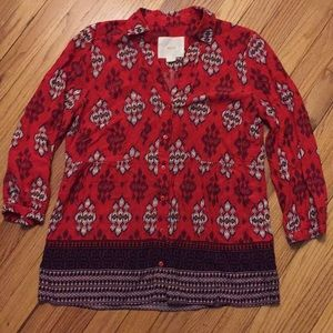 Anthropologie red patterned button down blouse